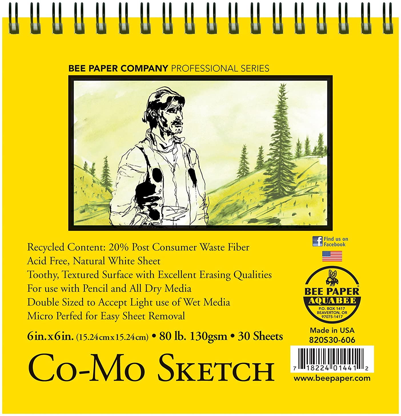 Bee Paper Co-Mo Sketch Pad, 6-Inch by 6-Inch