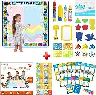 [ORIGINAL] Doodle Mat & Water Painting Cards 2 IN 1, Extra Large 100X100 CM Aqua Magic Doodle Mat & 26 Cards Numbers, Shap...