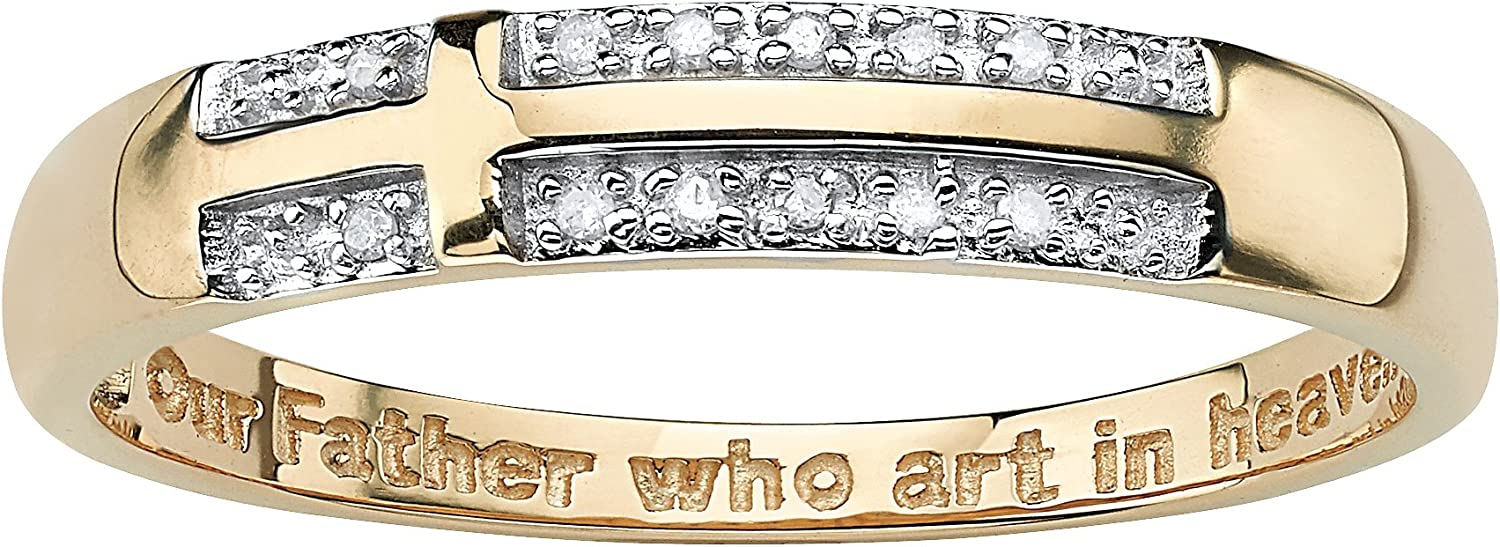 14K Yellow Gold over Sterling Silver Diamond 新品 送料無料 Side 予約 Genuine Accent