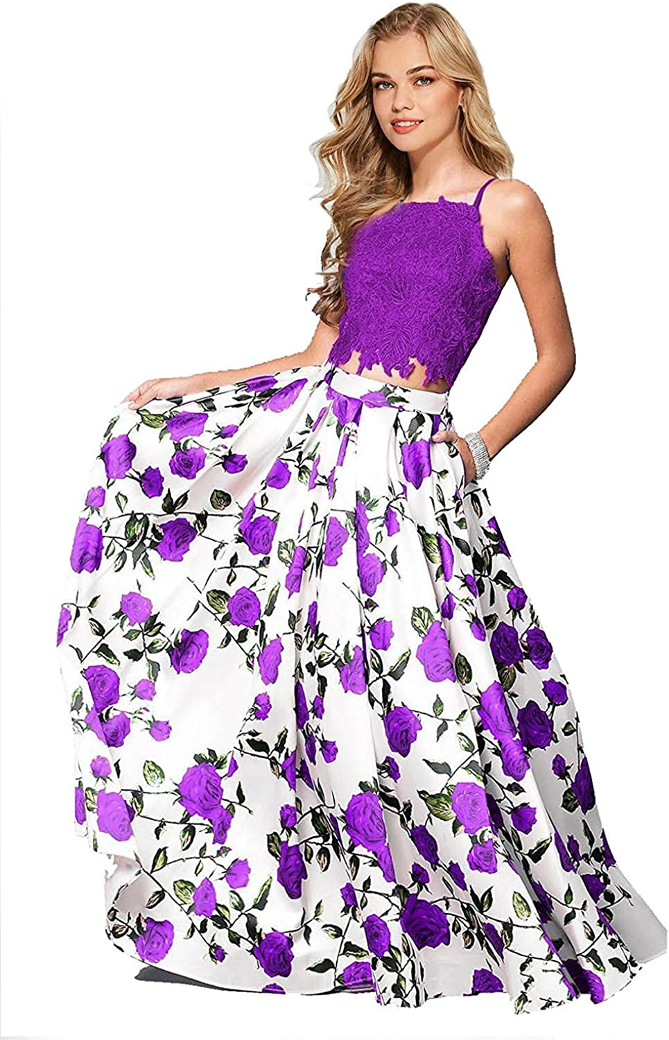Yiweir Women's Two Piece Floral Print Prom Dress Long Formal Evening Gowns YF003