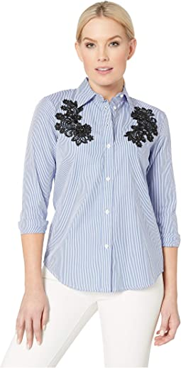 Petite Lace - Patch Cotton Button Down Shirt