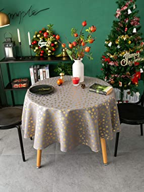 Amzali Vintage Rectangle Tablecloth - Dust-Proof Washable Xmas Themed Table Cloth, Decorative Fabric Table Cover for Dinner P