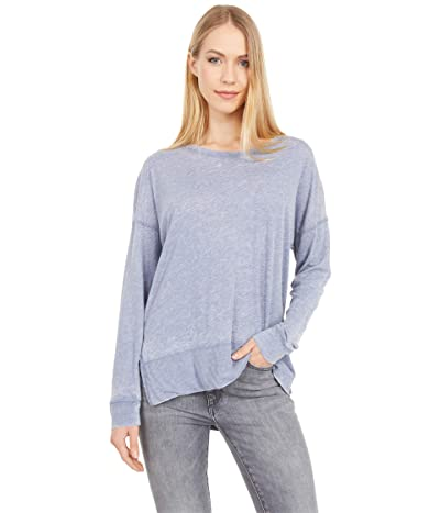 Mod-o-doc Burnout Wash Jersey Long Sleeve Drop Shoulder Tee (Indigo Ink) Women