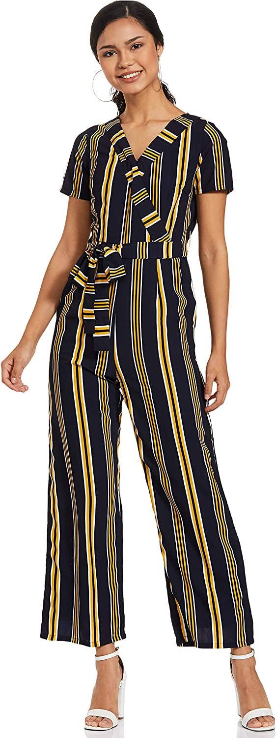 FabAlley Navy Yellow Super special price Striped Wrap W Jumpsuit Sleeve Short Popular Casual