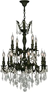 Worldwide Lighting Versailles Collection 12 Light Flemish Brass Finish and Clear Crystal Chandelier 24