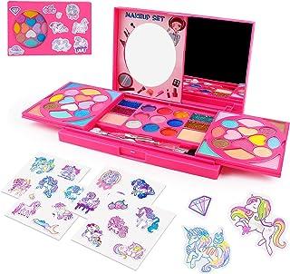 AMOSTING Kids Makeup Kits for Girls,Kids Washable Makeup Kit with Mirror,Girls Play Makeup Princess Toys for Kids,Make Up ...