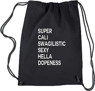 Backpack Super Cali Swagilistic Black Drawstring Backpack