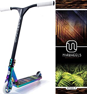 MIAWHEELS XT-120 Stunt Scooter- NEO-Chrome- 120MM Wheels- 530MM Extra Large Deck+ 580MM HIGH Front BAR
