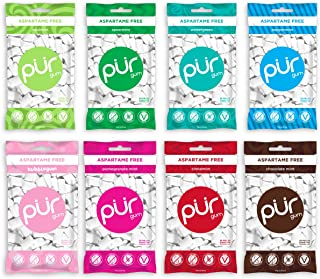 The PUR Company | Sugar-Free + Aspartame-Free Chewing Gum | 100% Xylitol | Variety Pack | Vegan + non GMO | 55 Pieces per Bag (Pack of 8, 440 pieces)