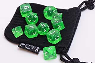 10 Piece Green Translucent Polyhedral Dice Set - Includes Four Six Sided Dice (D6) and Free Small Dice Bag