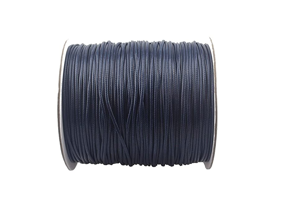 QIANHAILIZZ 200 Yards 1.5 mm Waxed Jewelry Making Cord Waxed Beading String Craft DIY Thread (Navy)