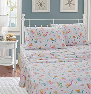 Better Home Style Under The Sea Mermaid Girls/Kids/Teens 4 Piece Sheet Set with Pillowcases Flat and Fitted Sheets (Pink M...
