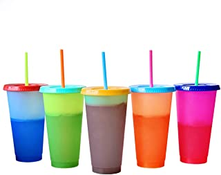 Color Changing Cold Drink Cups: 24oz Blank Cold Cups - 5 Reusable Cups, Lids and Straws - Summer Coffee Tumblers - Summer Cups, Set of 5