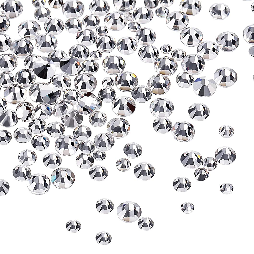花婿落とし穴晩餐Mojoe 3456 個ネイルクリスタルクリアネイルアートラインストーンラウンドバックガラスチャーム宝石石、6サイズネイル用装飾化粧服靴(、混合Ss4 5 6 8 10 12)(クリスタルクリア)