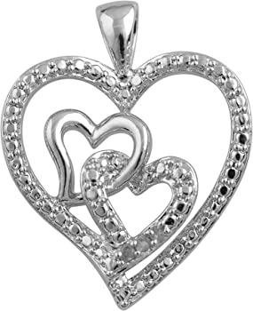 Diamond Princess Elegant 0.03 Carat Triple Heart Diamond Necklace