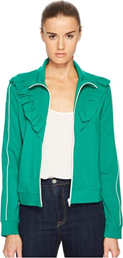 Jersey Zip-Up with Ruffle Detail