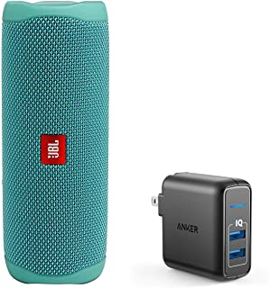 JBL Flip 5 Waterproof Portable Wireless Bluetooth Speaker Bundle with 2-Port USB Wall Charger - Teal