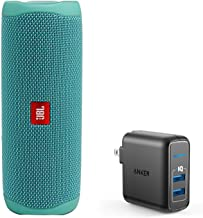 JBL Flip 5 Waterproof Portable Wireless Bluetooth Speaker Bundle with 2-Port USB Wall Charger - Teal