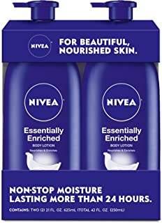 NIVEA Essentially Enriched Body Lotion, Hydra IQ Plus, 21 Fl Oz Bottle, Pack of 2