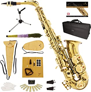 Mendini by Cecilio Gold Lacquer E Flat Alto Saxophone with Hard Case, Pocketbook, Mouthpiece, 10 Reeds, Stand, Cleaning Cl...
