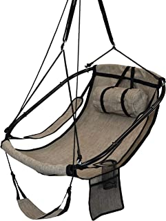 Sunnydaze Hanging Hammock Chair Swing, with Armrests, Side Pouch and Footrest, Beige