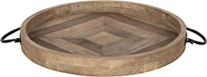 "Kate and Laurel Marmora Wood and Metal Round Tray, 18"" Diameter, Rustic Brown"