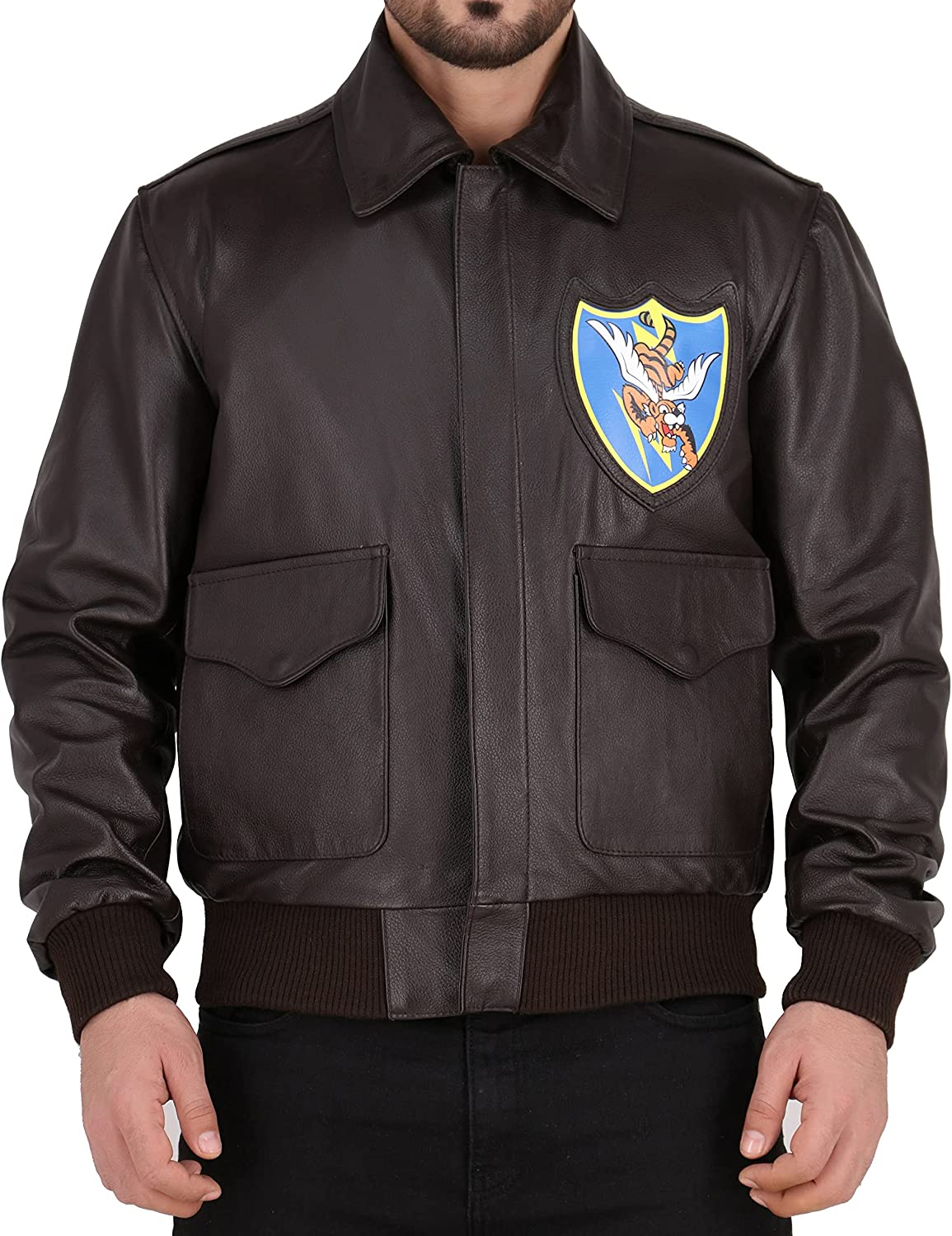 Jimmy Outfits A2 Aviator Brown WWII Flying Tiger Flight Jackets for men - Genuine Leather bomber jackets for men