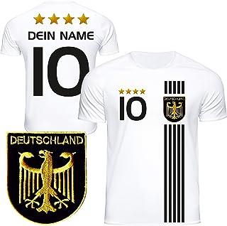 DE FANSHOP Deutschland Trikot mit GRATIS Wunschname  Nummer #D5 2021 2022 EM/WM weiß - Geschenk für Kinder Jungen Baby Fußball T-Shirt personalisiert