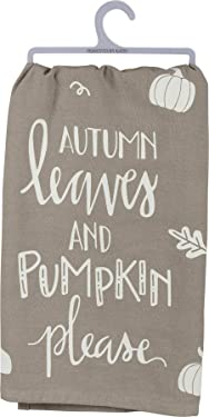 Primitives by Kathy Gray and White Hand-Lettered Dish Towel, 28 x 28-Inch, Autumn Leaves