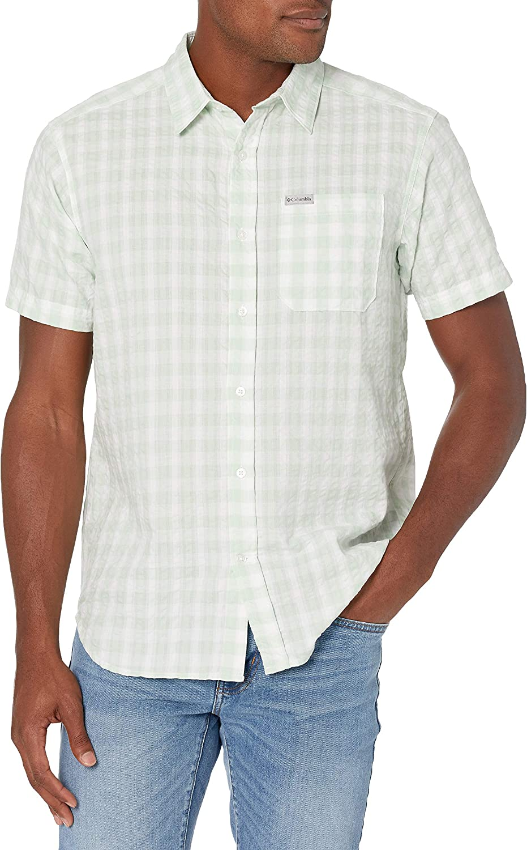 Columbia Men's Brentyn Trail 購入 Shirt Sleeve Short Seersucker 迅速な対応で商品をお届け致します