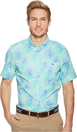 Vineyard Vines Electric Palm Short Sleeve Slim Tucker Shirt