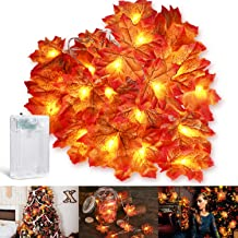 Azawa Fall Decorations, 10ft Maple Leaf String Lights Waterproof Battery Powered Lighted Fall Garland, Seasonal Indoor Out...