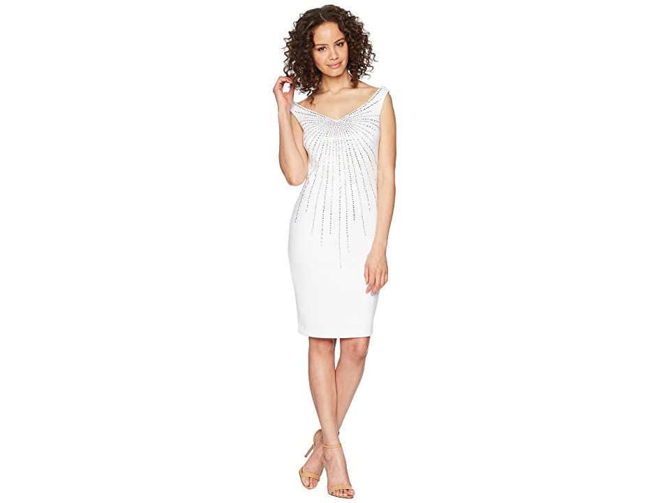 Calvin Klein Off Shoulder Embellished Scuba Sheath Dress CD8M15LH (White) Women