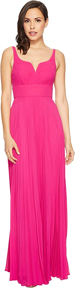 Laundry by Shelli Segal - Chiffon Gown with Sunburst Pleated Skirt