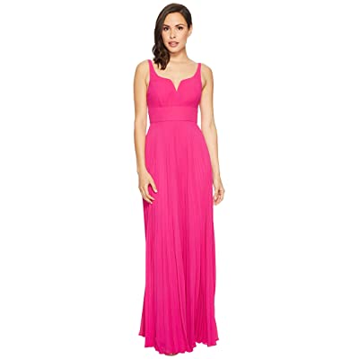 Laundry by Shelli Segal Chiffon Gown with Sunburst Pleated Skirt (Electric Pink) Women