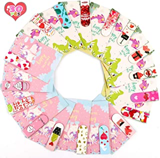 FiGoal 30 PCS Valentine's Day Magnetic Bookmark with 30 Valentine's Day Cards Kids Classroom Assorted Stationery Value Gif...