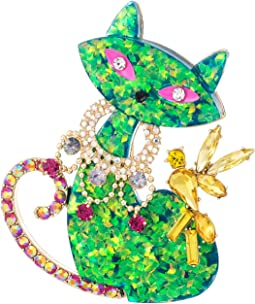 Betsey Johnson - Green Cat Pin