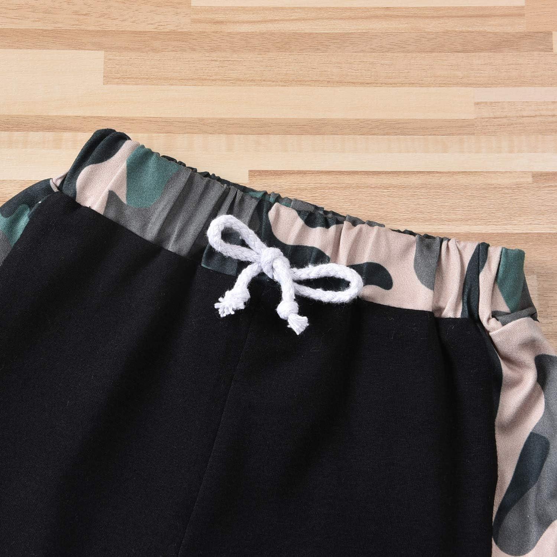 Baby Girls Summer Camouflage Clothes Sets Camo Short Sleeve Pocket T-Shirt Tops Shorts 2PCS Infant Girl Short Set