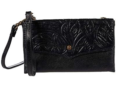 The Sak Ventura Multi Compartment Phone Crossbody (Black Leaf Embossed) Handbags