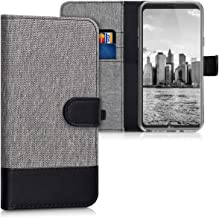 kwmobile Wallet Case for LG Q6 / Q6+ - Fabric and PU Leather Flip Cover with Card Slots and Stand - Grey/Black
