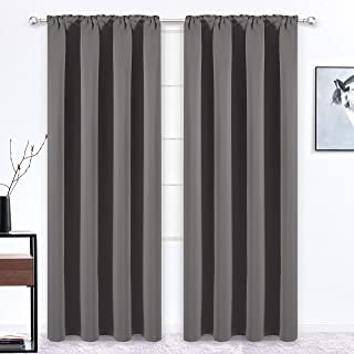 WONTEX Thermal Insulated Blackout Curtains, Back Tab and Rod Pocket Room Darkening Curtains for Living Room and Bedroom, Set of 2 Curtain Panels, 52 x 84 inch, Grey