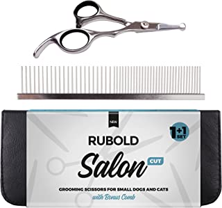 RUBOLD Professional Dog Grooming Scissors Set - Stainless Steel Rounded Tip Sharp Durable Shears with Pet Grooming Comb in Kit - Best Tools for Trimming Every Dog and Cat Salon Cut
