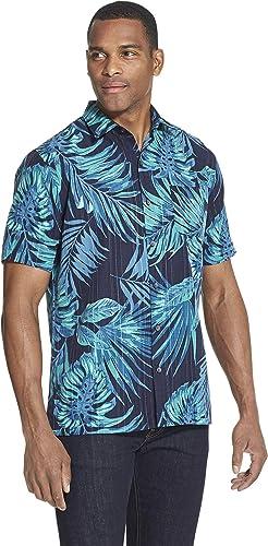Van Heusen Air Tropical Print manche courte Button Down Shirt Chemise à Boutons Homme