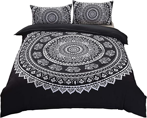 DasyFly 3 Piece Bohemian Mandala Bedding King Size Duvet Cover Sets Elephant Boho Chic Hippie Bedding Mandala Quilt Comforter Cover For Aducts Boys Girls Black White