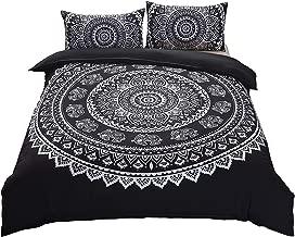 DasyFly 3 Piece Bohemian Mandala Bedding King Size Duvet Cover Sets,Elephant Boho Chic Hippie Bedding Mandala Quilt/Comforter Cover for Aducts Boys Girls Black White