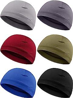 Syhood 6 Pieces Men Skull Caps Cotton Beanies Sleep Hats Multifunctional Helmet Liner Cap for Men and Women
