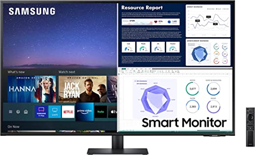 Samsung M7 Series 43-inch 4K UHD Smart Monitor & Streaming TV (Tuner-Free), Netflix, HBO, Prime Video, & More, Apple Airplay, Bluetooth, Built-in Speakers, Remote Included (LS43AM702UNXZA)