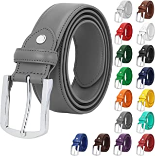 Falari Men Women Genuine Leather Casual Dress Belt With Single Prong Buckle  15 Colors 6a39992b48
