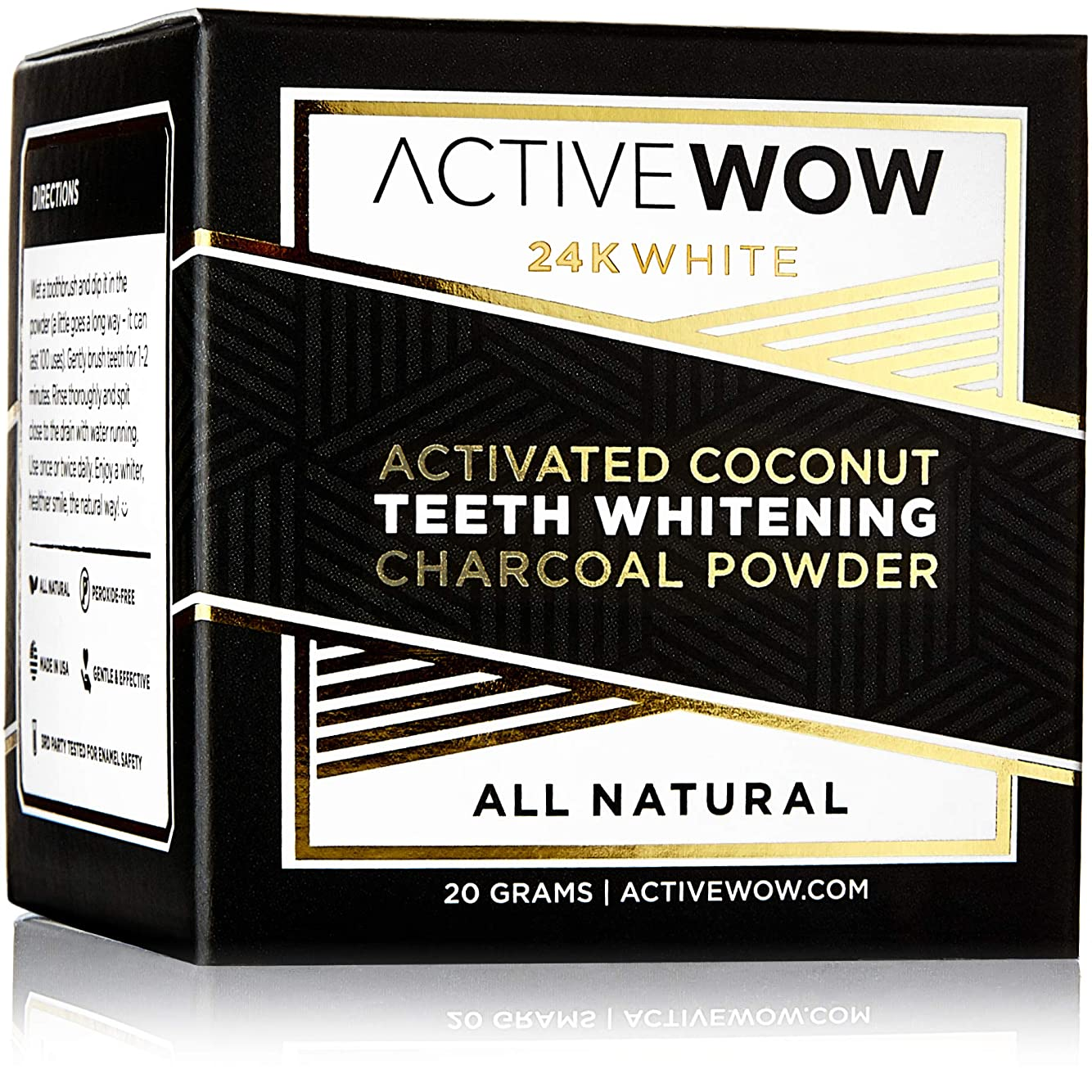 リスト決定するラケットアクティブワオ (Active Wow) 歯のホワイトニングチャコールパウダー [海外直送品] (ナチュラル)