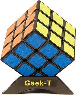 Geek-T スピードキューブ最新マット感 世界基準配色マジックキューブ 日本語6面完成攻略書 専用スタンド付き 立体パズル 競技用キューブ 知育玩具 ステッカー 脳トレ ポップ防止 回転スムーズ 3x3x3